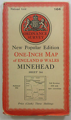 1946 Old OS Ordnance Survey one-inch map New Popular Edition 164 Minehead