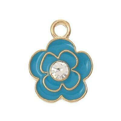 Flower Charm/Pendant Brass Blue/Pale Gold 17mm BULK 5 Packs x 2 Charms Accessory