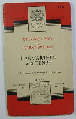 Old 1960 OS Ordnance Survey Seventh Series One-Inch Map 152 Carmarthen & Tenby