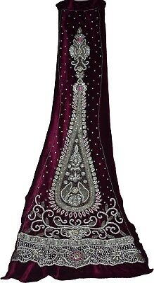 Indian Culture Vintage Purple Decor Fabric Antique  Embroidery Dabka & Zircons