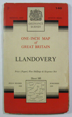 Old Vintage 1960 OS Ordnance Survey Seventh Series One-inch Map 140 Llandovery