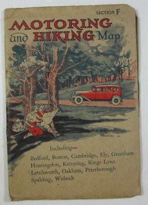 1945 W & A K Johnston Motoring & Hiking Map Section F Bedford Cambridge Wisbech