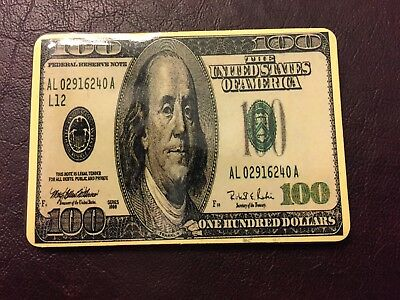 Magnetic 100 dollar bill small notebook/address book - magnet closing