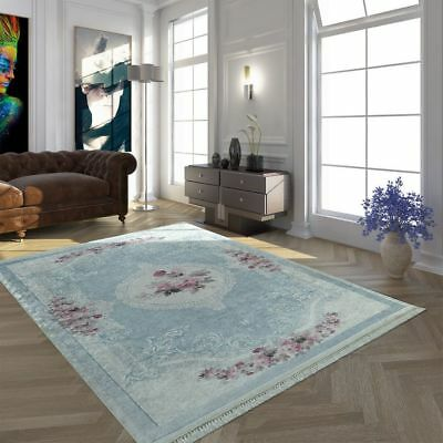 Modern Rug Floral Flowers Carpet Vintage Traditional Rugs Classic Mat Pink Blue