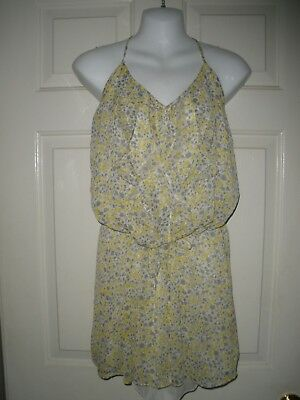 69544e397db  4 misses Dress M Old Navy sunshine Yellow Floral Gray Sundress Lined