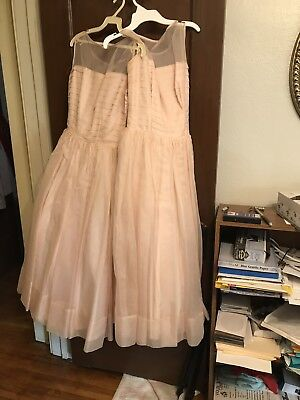 2 Vintage Flowergirl Bridesmaid Chiffon Satin Netting Dresses