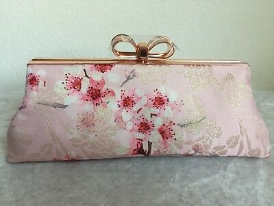 7d7f9d0be4fd NWT Ted Baker London Diona Soft Blossom Frame Evening Clutch  159 Light  Pink Mul