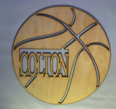 24in. Wooden Vine Font Basketball Mono/name Unfinished wood letters Decor Custom