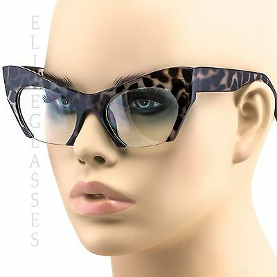 Clear Bottom Razor Semi Rimless Cut Off Lens Cat Eye Glasses Brown Eyeglasses