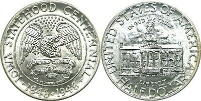 1946 50C Iowa Centennial Silver Commemorative Half Uncirculated