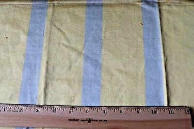 "French Antique c1920 Lyon Silk Yellow & Blue Home Dec Stripe Fabric~L-17""X W-28"""