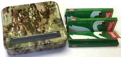 AUTOMATIC ROLLING MACHINE CIGARETTE ARMY CAMOUFLAGE METAL TIN and SWAN PAPERS