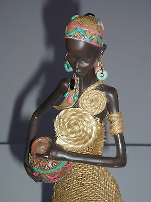 """Elegant Carved Wood Mixed Media 16"""" Tall African Woman in Burlap Dress w/Pottery"""