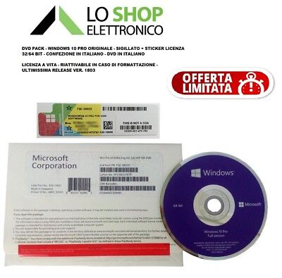 DVD Pack Windows 10 Pro - Professional 32/64 Bit + Sticker Licenza - Product Key
