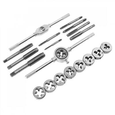 20 PC Alloy Steel TAP AND DIE Set METRIC w/Case Screw Extractor Remover Chasing