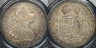 Proclamation Coin Mexico 1801FM 8 Reales KM #109 PCGS XF45