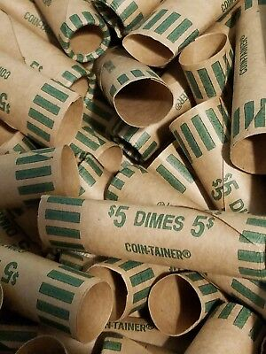 100 Coin-Tainer Preformed Dime Wrappers. Pre-Crimped End Shotgun Rolls. Holds $5