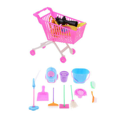 Prettyia Supermarket Shopping Cart Set & Cleaning Tool for  Doll