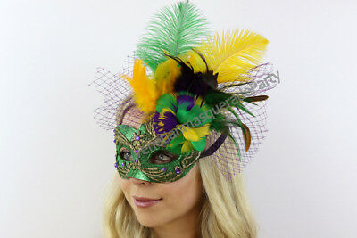 818e31864f5b Mardi Gras Masquerade Feather Mask Brocade Lace Sexy Dress up Costume Party  Prom