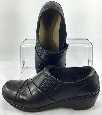 725f59bc565 Clarks Channing Essa Loafers Womens Size 7 W Black Leather Zip Stretch Gore  Shoe