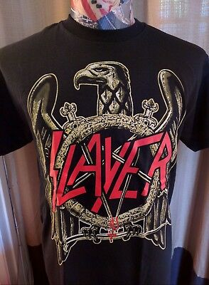 Brand New Slayer Eagle Red Logo Bloody Crossed Swords Thrash Metal Black T Shirt