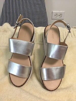 4462254b9 Zara Woman Silver Metallic Leather Ankle Strap Platforms Heels Sandals Sz 10