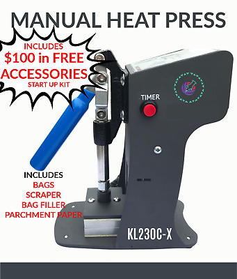 """Rosin Press Manual Personal Use Dual Heat Plates 2"""" x 3"""" Includes Startup Kit"""