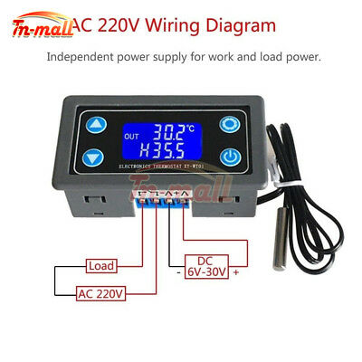 10A Digital LCD Display Thermostat High precision Temperature Controller DC6-30V