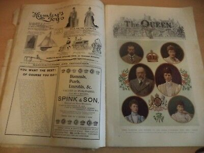 Old Antique 1900S Large Magazine The Queen Ladys Newspaper Fashion King Edward