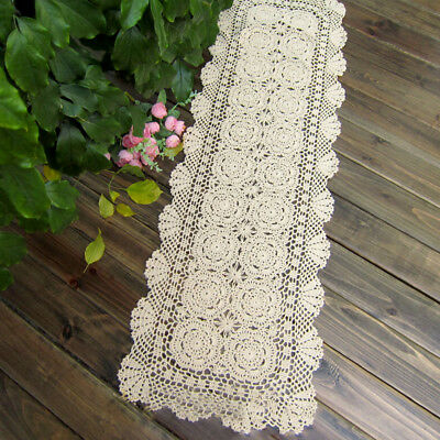 Vintage Crochet Cotton Lace Doilies Table Runners Mats Wedding Handmade 40x90cm