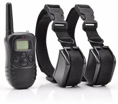 Pet Dog Training Shock Collar LCD 300m Remote Electric Rechargeable For 1/2 Dogs