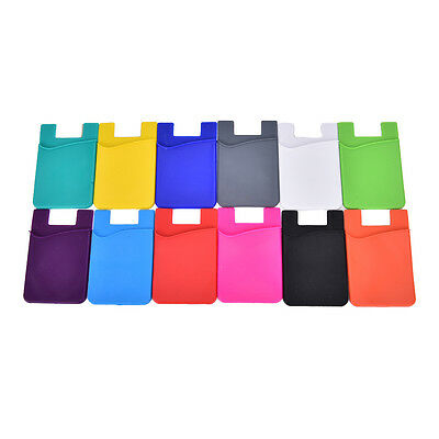 Fashion Adhesive Sticker Back Cover Card Holder Case Pouch For Cell Phone X