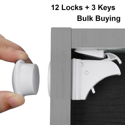 12x Invisible Magnetic Baby Child Pet Proof Cupboard Door Drawer Safety Lock UK