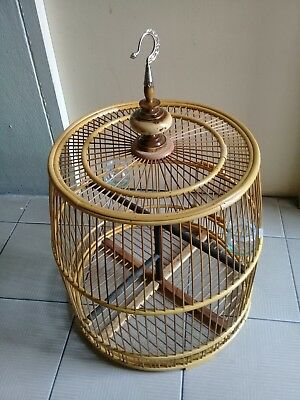 Hand made bamboo bird cage unique style natural wood bird cage FREE WORLD POST.