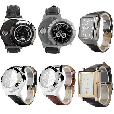 Men's USB Cigarette Rechargeable Windproof Flameless Lighter Square/Round Watch