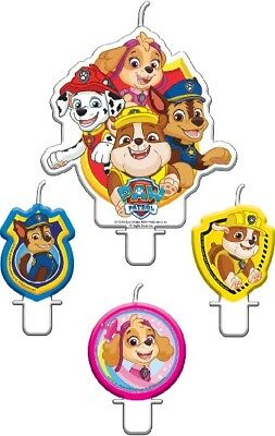 Paw Patrol Birthday Candles x 4 Partyware Children's Party Cake Topper Tableware
