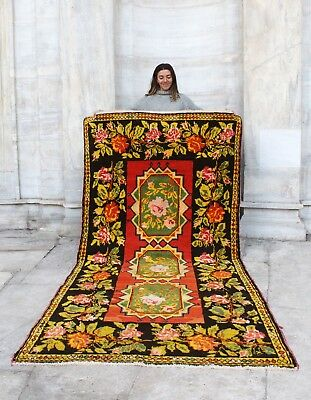 Antique Handmade Vintage Armanian Karabagh Tribal Carpet Area Rug 8'9 x 4'4""