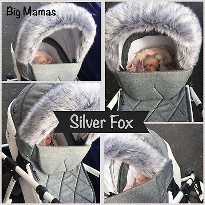 Luxury Pram Fur Hood Trim fits Venicci, Egg etc -SILVER GREY FOX- Long ❤️Fluffy❤