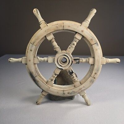 "Wooden Ship Wheel Reproduction 18"" Total Size 1.75"" Thick Nautical Decor Painted"