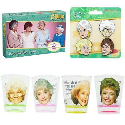 The Golden Girls Clue Board Game, Shot Glass 4-Pack and Enamel Pins Bundle