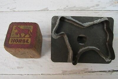 Child's Old Wooden Block, Cookie Cutter HORSE, Country, Farm House, Primitive