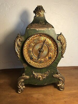 antique cast iron ansonia mantle clock 1882