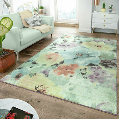 Floral Modern Rug Flowers Small Large Carpet Pink Teal Grey Mat Soft Pastel Rugs