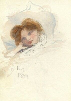 Pickford Robert Waller, Artist's Muse at Rest - 1899 watercolour painting