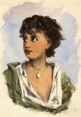 Pickford Robert Waller, Young Lady with Locket - 1870s watercolour painting