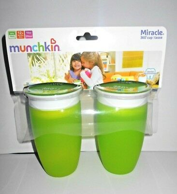 2 Munchkin GREEN Miracle 360 Sippy Cup, 10 oz. Soft Drinky Toddler Kid Teething