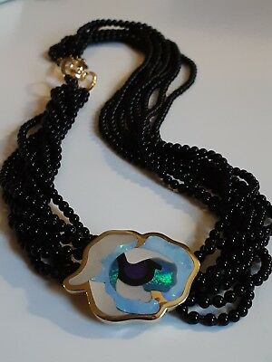 4b489bb1e Tiffany & Co. Rare Angela Cummings 18k Gold Opal, MOP & Sugilite Inlay  Necklace