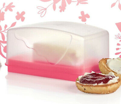 Tupperware Impressions Butter Dish 1 lb size In Pink & White Color NEW