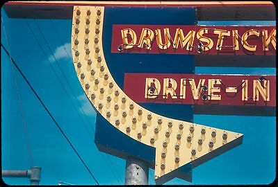 1960S Drive-In Movie Theater Entrance Neon Sign Arrow Vtg Orig 35Mm Photo Slide