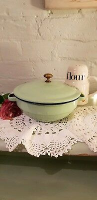 Vintage Enamel green Pot With Lid Kitchenalia  Shabby Chic
